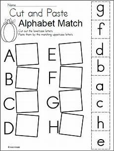 kindergarten worksheets letters alphabet match worksheet for fall madebyteachers