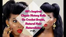 60s Black Hairstyles hair tutorial 60 s classic victory rolls on crochet