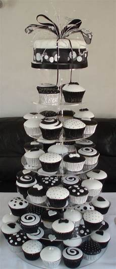 black and white wedding cupcake tower cakecentral com