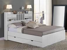 lit mederick avec rangements 140x190cm pin blanc