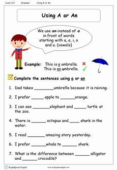 using a or an worksheet english treasure trove