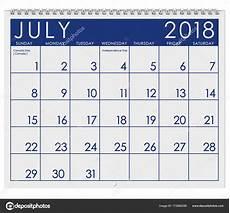 Kalender 2018 Juli - 2018 kalender maand juli met independence day stockfoto