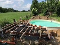 Unterbau Holz Terrasse Pool Halbrund Holzterrasse In