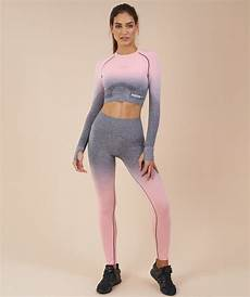 gymshark female fitness gymshark ombre seamless crop top peach pink charcoal 1