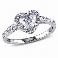 1 ct t w heart shaped diamond frame ring in 14k white
