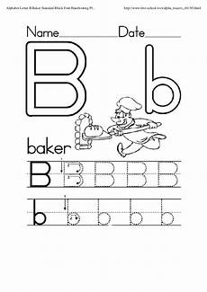 printable letter b worksheet for writing practice preschool crafts