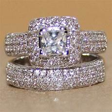 pave 134pc topaz womens 925 silver handmade 2 wedding band ring ebay