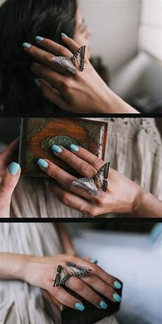 set of extraordinary boho chic set of rings with silk butterfly wings set of