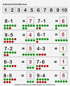 single digit subtraction math worksheet subtraction of single digit numbers with dots worksheet