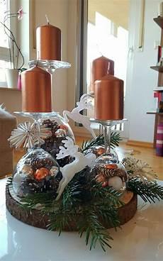 Kerzenständer Weihnachtlich Dekorieren - adventskranz mit rentieren in kupfergold auf weingl 228 ser zu