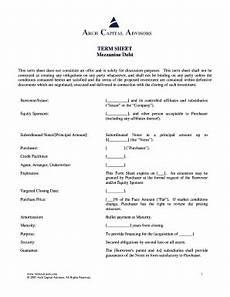 fillable online term sheet mezzanine debt arch capital advisors fax email print pdffiller