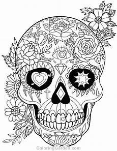 Ausmalbilder Erwachsene Totenkopf Free Printable Sugar Skull Day Of The Dead