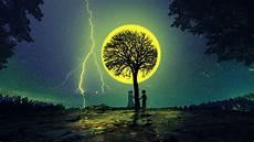 download wallpaper 3840x2160 silhouettes tree love couple lightning stars 4k uhd 16