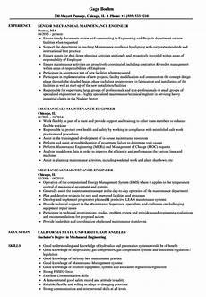 mechanical maintenance engineer resume sles velvet