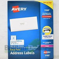 avery 5160 3 000 1 quot 2 5 8 quot sure feed easy peel address labels white 72782051600 ebay