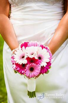 a clean and simple handtied wedding bouquet of only assorted shades of pink gerbera daisies