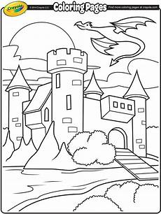 castle with flying above coloring page crayola