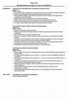 automotive applications engineer resume sles velvet