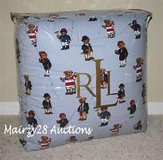 new ralph lauren polo bear teddy bear blue stripe king comforter rare ebay