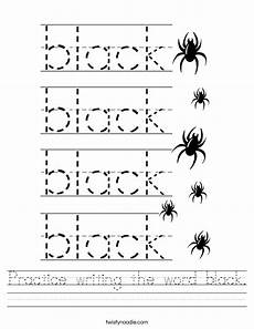 practice writing the word black worksheet twisty noodle