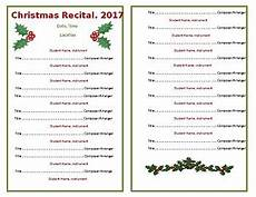 template half sheet program for holiday recital concert holly berries