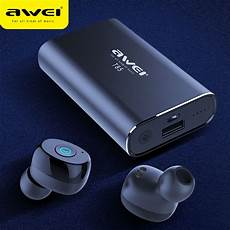 True Wireless Power Bank Dual Bluetooth by Awei Tws True Wireless Earbuds Bluetooth 5 0 1800mah Power