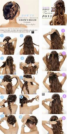 easy hairstyles steps braided updo half up half down