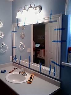Framed Bathroom Mirror Ideas This Thrifty House Framed Bathroom Mirror Howto