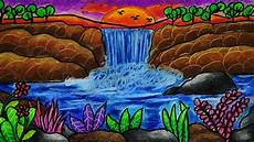 Cara Menggambar Dan Mewarnai Pemandangan Air Terjun Yang