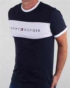hilfiger flag logo t shirt navy mens cotton