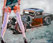 Babe Legs Rat Rod CAR Original Art Painting DAN BYL Modern
