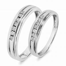 1 3 ct t w diamond his and hers wedding band 10k white gold