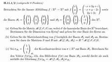 lineare algebra 5 fragen zu kern basis 228 nderung und