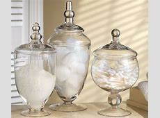 Glass Canisters Set of 3 Home Bathroom Decor Crystal