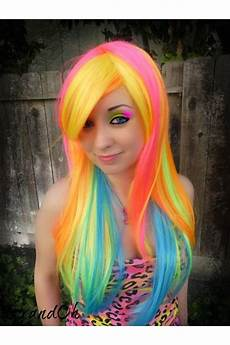 bright hair colors on pinterest bright hair rainbow hair and neon hair neon hair long rainbow bright hair neon hair cool hair color rainbow hair