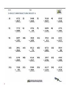 subtraction with regrouping worksheets grade 4 10654 3 digit subtraction worksheets