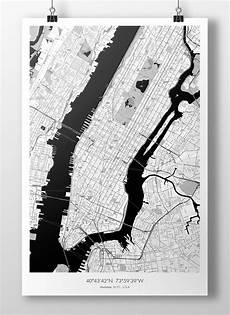 New York Malvorlagen Pdf New York City Manhattan Map Poster B W Etsy