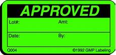 approved quality control label q004 gmp qsr iso label