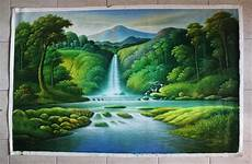 Jual Lukisan Pemandangan Hutan Dan Air Terjun X93 Di