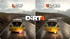 pc graphics comparison dirt 4 low vs ultra settings
