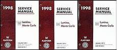 service and repair manuals 1998 chevrolet lumina spare parts catalogs 1998 chevy lumina and monte carlo repair shop manual original 3 volume set