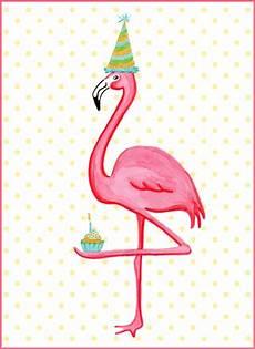 Pink Flamingo And Cupcake Birthday Card Carte De F 234 Te De