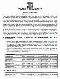 admission notice for ma in rabindra bharati university 2020 2021 eduvark