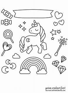 unicorn with rainbow and coloring page