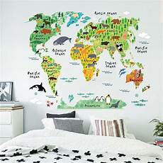 home decor decals colorful world map nursery room wall stickers home