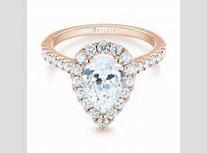 14k Rose Gold Pear shaped Halo Diamond Engagement Ring