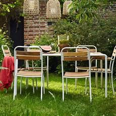 Salon De Jardin En Bois Et M 233 Tal Fsc Bois Dessus Bois