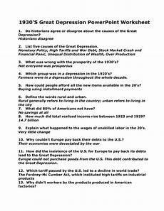 the great depression worksheet answer key db excel com