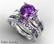 amethyst wedding ring setunique wedding ring setpurple