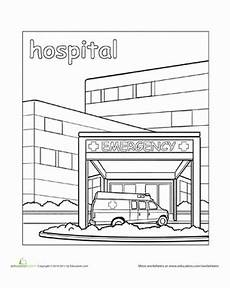 places in the school coloring pages 18035 hospital worksheet education